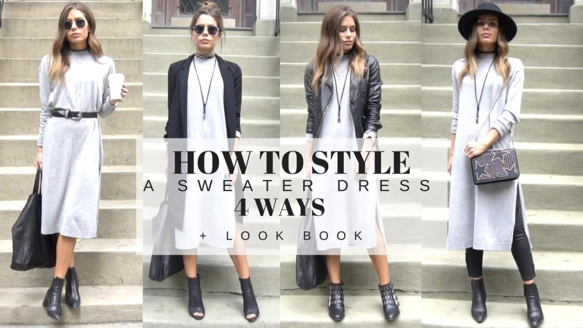 How To Style | A Basic Grey Sweater Dress 4 Ways + LOOK BOOK