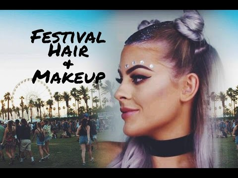 Festival Hair + Makeup Tutorial | Glitter Roots + Fun Buns