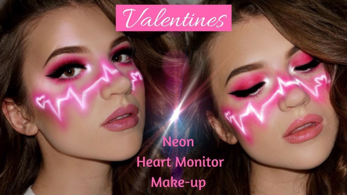 Valentines Neon Heart Rate Makeup