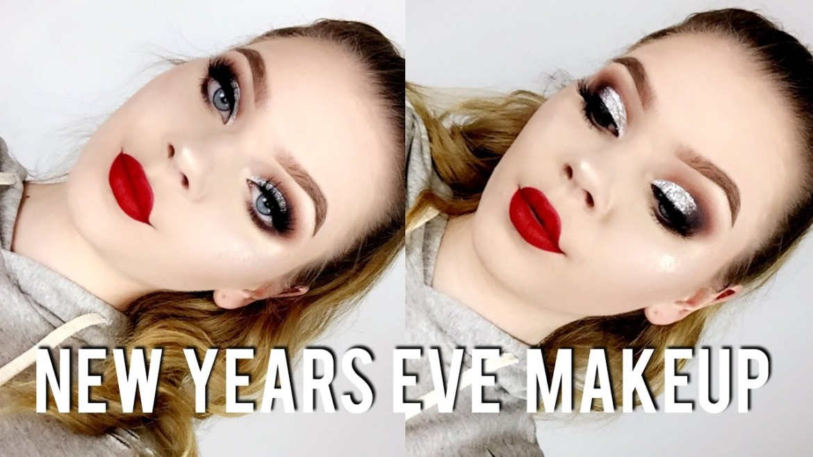 New Years Eve Makeup Tutorial | Glitter Cut Crease & Bold Lip