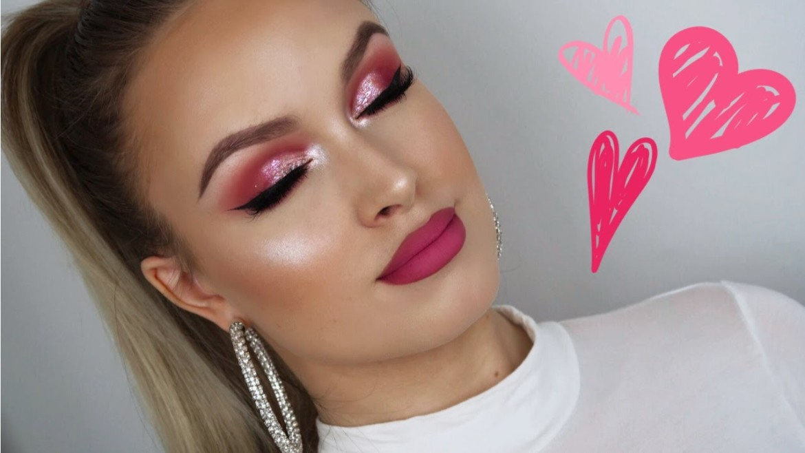 PINK GLITTER SMOKEY EYES + PINK OMBRE LIPS ♡ VALENTINES DAY MAKEUP 2019