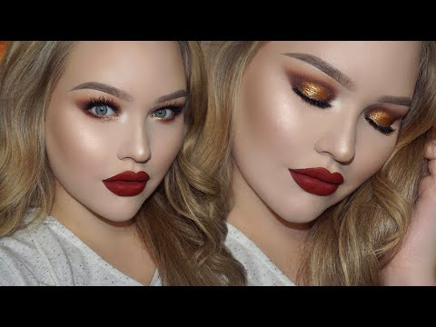 Gold Smokey Eyes – Classic Red Lips | Holiday Glam Makeup